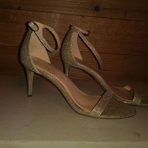 Gold glitter heels